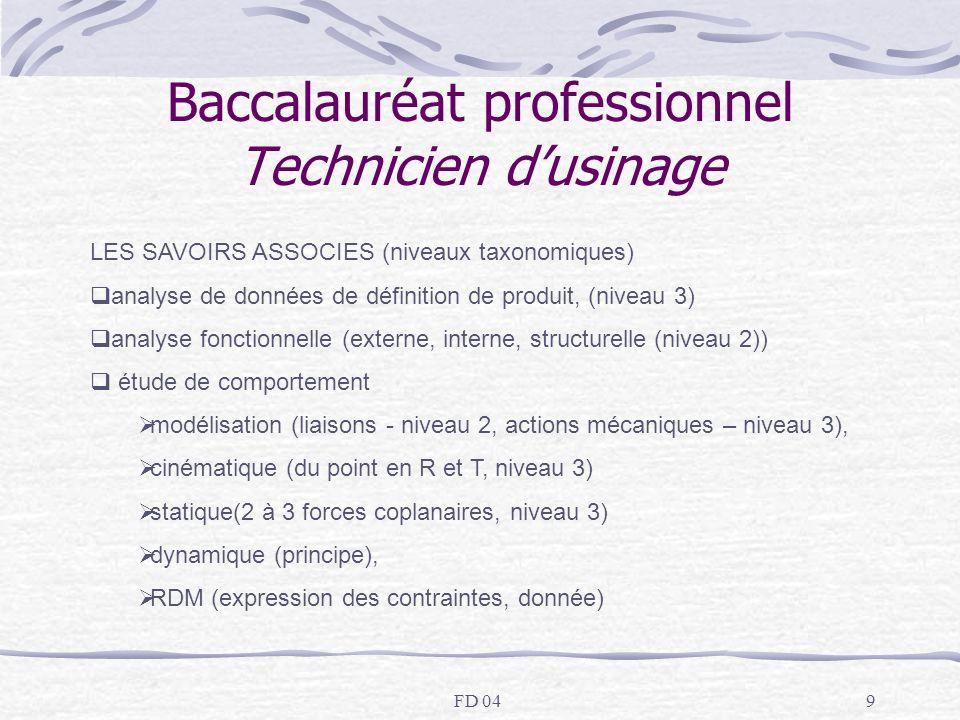 FD 049 Baccalauréat professionnel Technicien dusinage LES SAVOIRS ASSOCIES (niveaux taxonomiques) analyse de données de définition de produit, (niveau