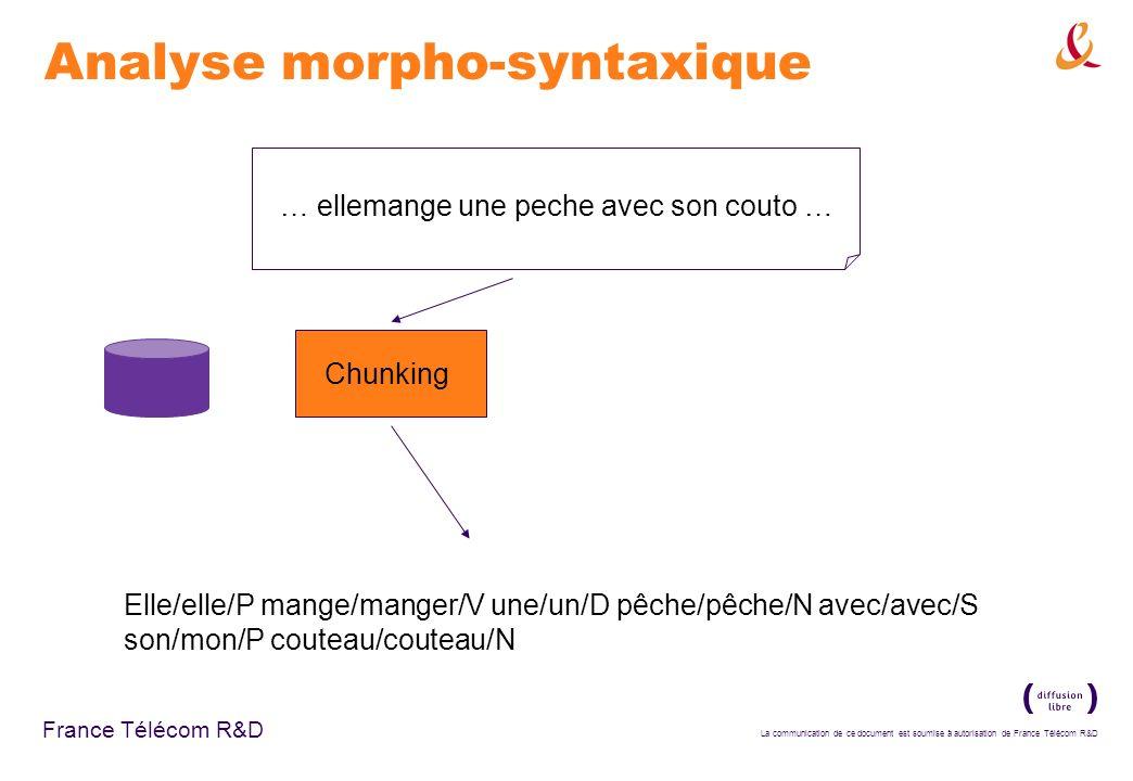La communication de ce document est soumise à autorisation de France Télécom R&D France Télécom R&D Analyse morpho-syntaxique Chunking … ellemange une