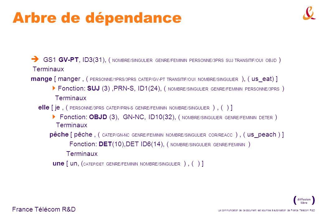 La communication de ce document est soumise à autorisation de France Télécom R&D France Télécom R&D Arbre de dépendance GS1 GV-PT, ID3(31), ( NOMBRE/S