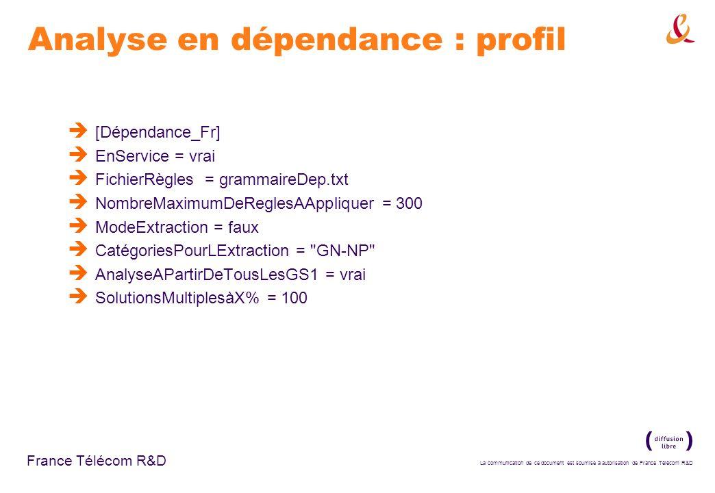 La communication de ce document est soumise à autorisation de France Télécom R&D France Télécom R&D Analyse en dépendance : profil [Dépendance_Fr] EnS
