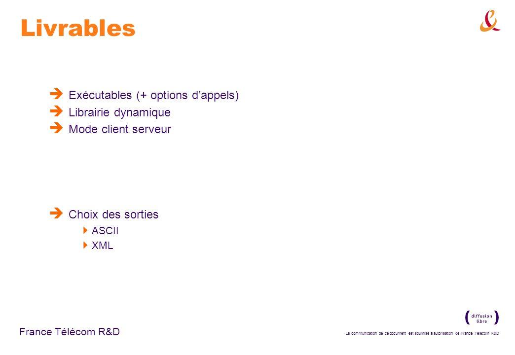 La communication de ce document est soumise à autorisation de France Télécom R&D France Télécom R&D Livrables Exécutables (+ options dappels) Librairi
