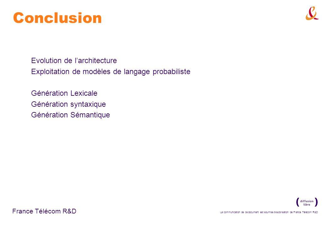 La communication de ce document est soumise à autorisation de France Télécom R&D France Télécom R&D Conclusion Evolution de larchitecture Exploitation