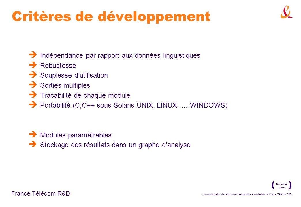 La communication de ce document est soumise à autorisation de France Télécom R&D France Télécom R&D Critères de développement Indépendance par rapport