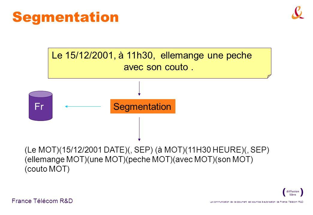 La communication de ce document est soumise à autorisation de France Télécom R&D France Télécom R&D Segmentation Le 15/12/2001, à 11h30, ellemange une