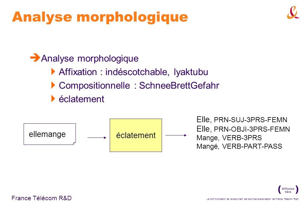 La communication de ce document est soumise à autorisation de France Télécom R&D France Télécom R&D Analyse morphologique Affixation : indéscotchable,