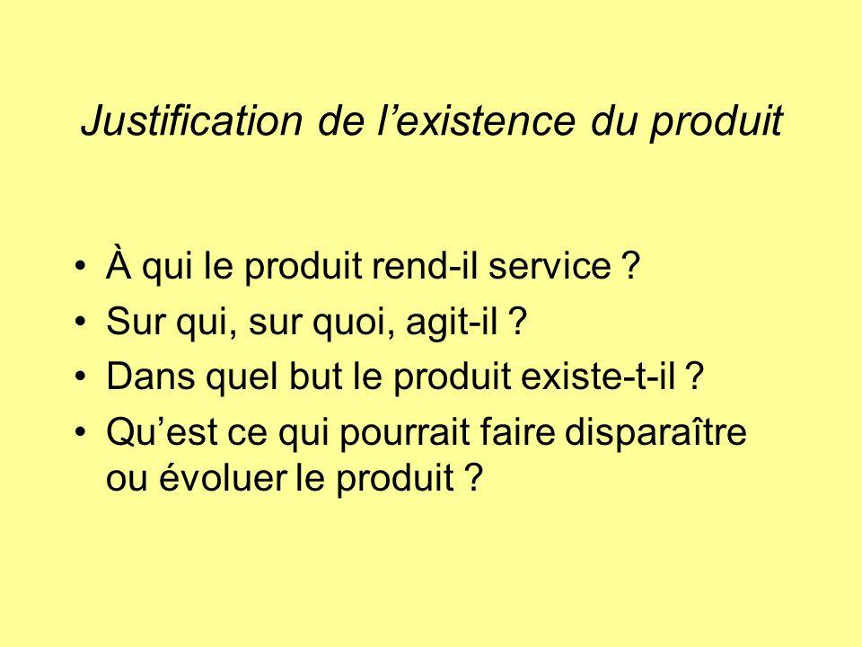 Justification de lexistence du produit À qui le produit rend-il service ? Sur qui, sur quoi, agit-il ? Dans quel but le produit existe-t-il ? Quest ce