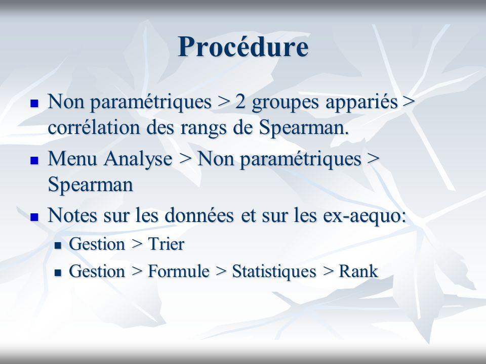 Procédure Non paramétriques > 2 groupes appariés > corrélation des rangs de Spearman.