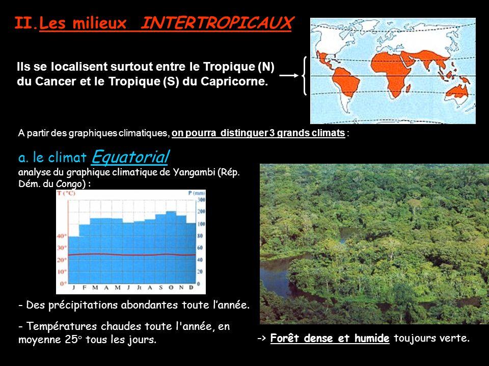 II.Les milieux INTERTROPICAUX a. le climat Equatorial analyse du graphique climatique de Yangambi (Rép. Dém. du Congo) : Ils se localisent surtout ent