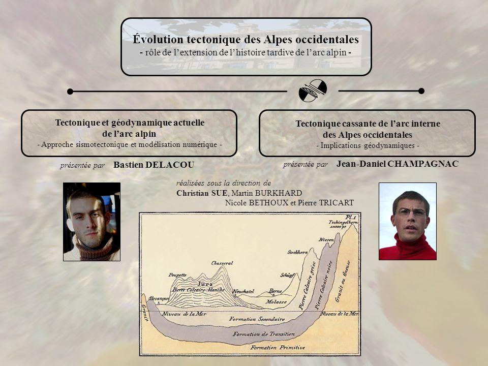 Tectonique et géodynamique actuelle de larc alpin - Approche sismotectonique et modélisation numérique - présentée par Bastien DELACOU présentée par J