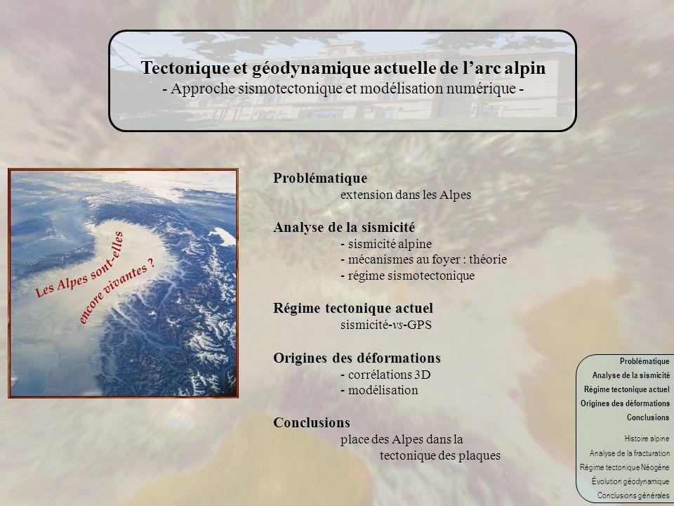 Tectonique et géodynamique actuelle de larc alpin - Approche sismotectonique et modélisation numérique - Problématique extension dans les Alpes Analys