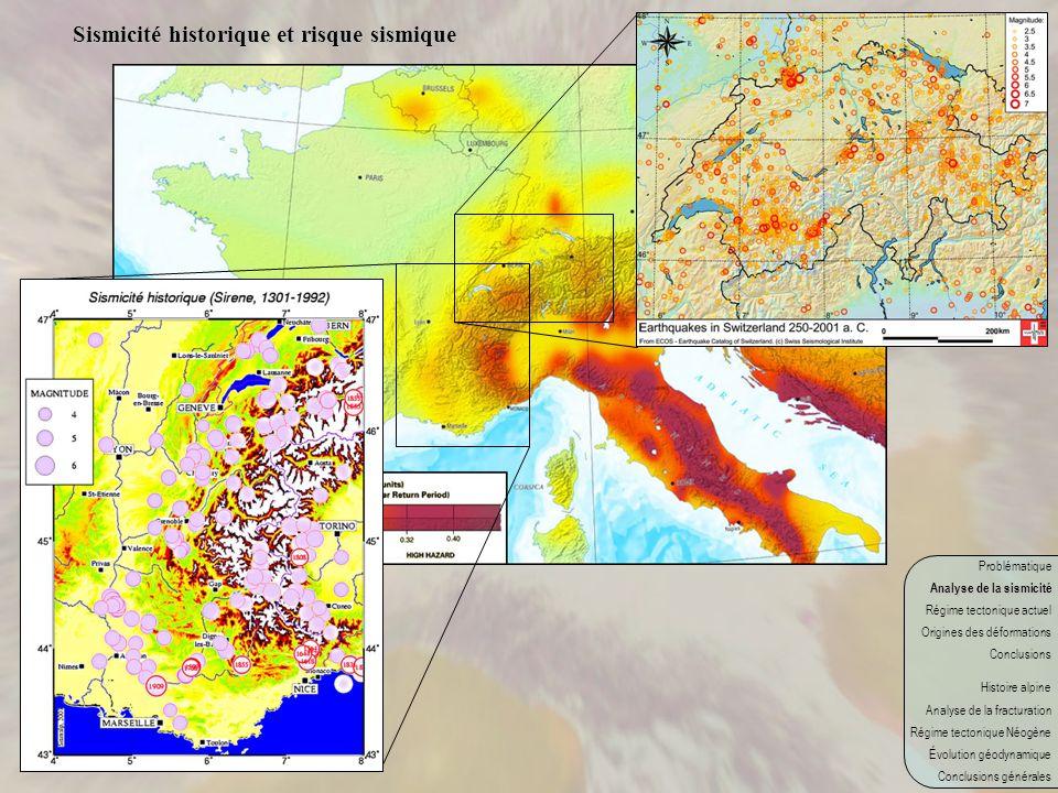 Problématique Analyse de la sismicité Régime tectonique actuel Origines des déformations Conclusions Histoire alpine Analyse de la fracturation Régime