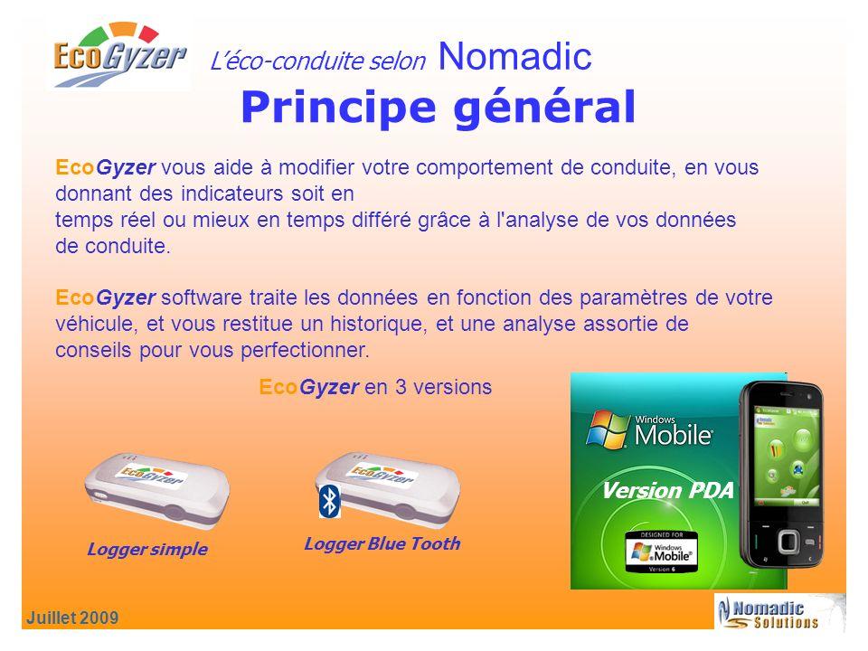 Juillet 2009 Principe général Léco-conduite selon Nomadic EcoGyzer vous aide à modifier votre comportement de conduite, en vous donnant des indicateurs soit en temps réel ou mieux en temps différé grâce à l analyse de vos données de conduite.