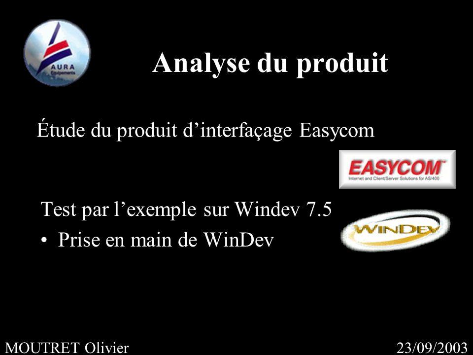 23/09/2003MOUTRET Olivier Analyse du produit Test par lexemple sur Windev 7.5 Prise en main de WinDev Étude du produit dinterfaçage Easycom