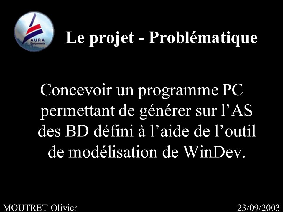 23/09/2003MOUTRET Olivier Concevoir un programme PC permettant de générer sur lAS des BD défini à laide de loutil de modélisation de WinDev.