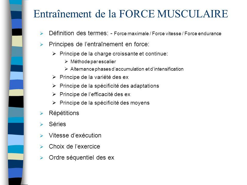 Entraînement de la FORCE MUSCULAIRE Définition des termes: - Force maximale / Force vitesse / Force endurance Principes de lentraînement en force: Pri