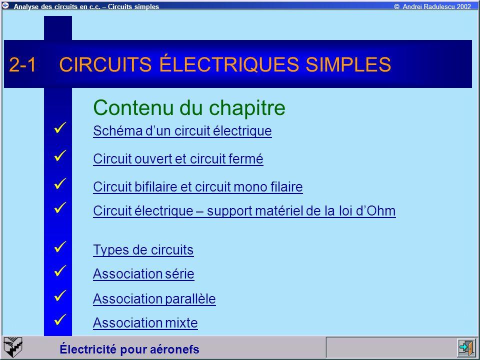 Électricité pour aéronefs © Andrei Radulescu 2002Analyse des circuits en c.c. – Circuits simples Schéma dun circuit électrique 2-1CIRCUITS ÉLECTRIQUES