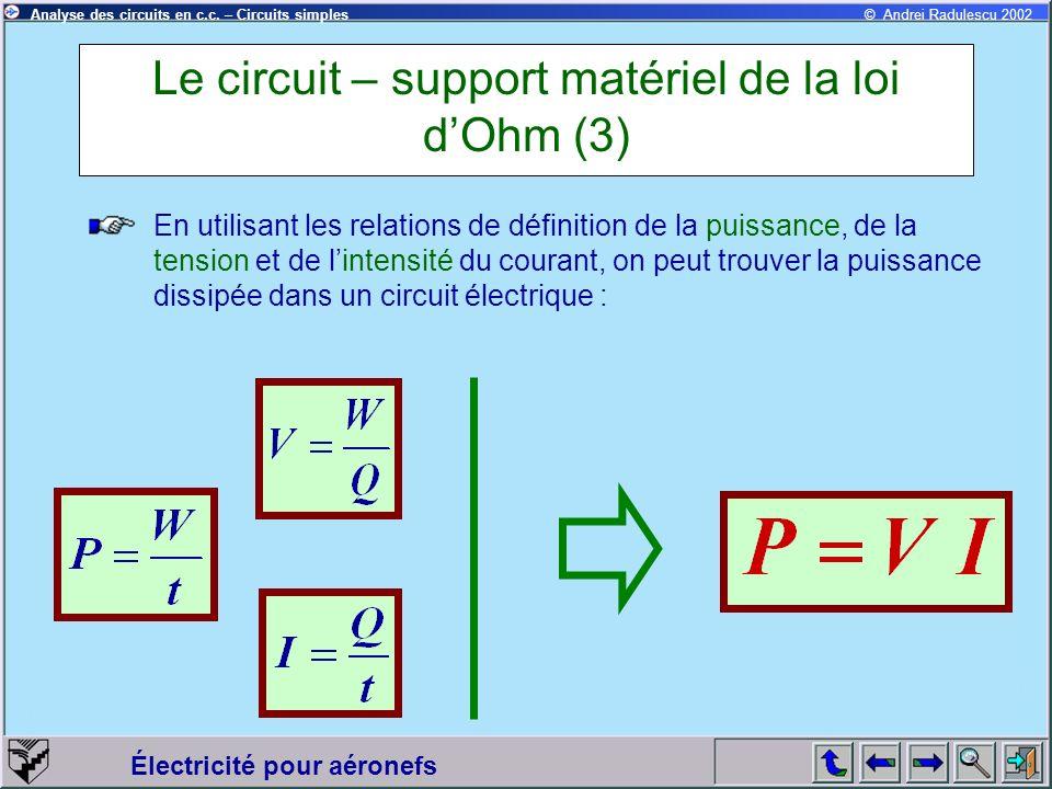 Électricité pour aéronefs © Andrei Radulescu 2002Analyse des circuits en c.c. – Circuits simples Le circuit – support matériel de la loi dOhm (3) En u