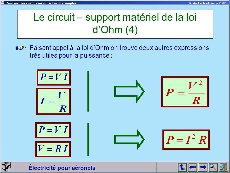 Électricité pour aéronefs © Andrei Radulescu 2002Analyse des circuits en c.c. – Circuits simples Le circuit – support matériel de la loi dOhm (4) Fais