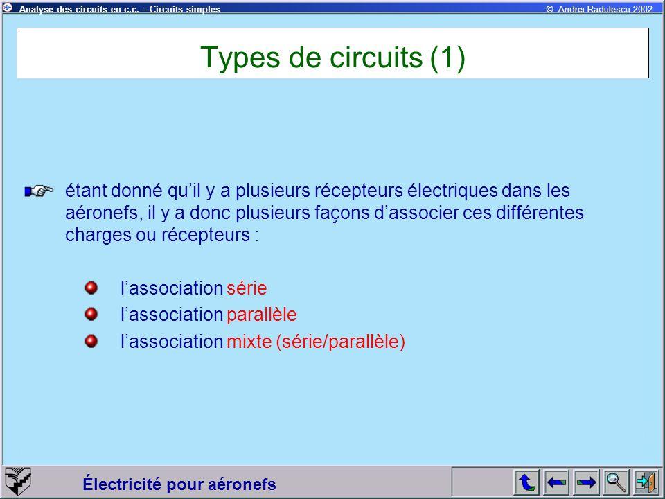 Électricité pour aéronefs © Andrei Radulescu 2002Analyse des circuits en c.c. – Circuits simples Types de circuits (1) étant donné quil y a plusieurs