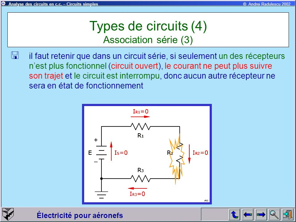 Électricité pour aéronefs © Andrei Radulescu 2002Analyse des circuits en c.c. – Circuits simples il faut retenir que dans un circuit série, si seuleme