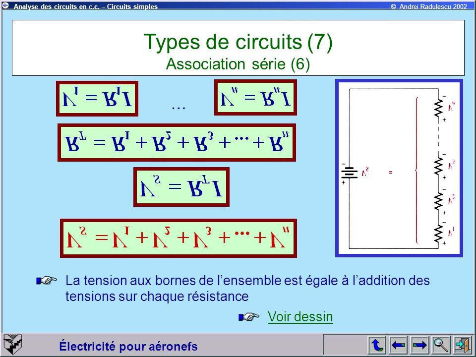 Électricité pour aéronefs © Andrei Radulescu 2002Analyse des circuits en c.c. – Circuits simples Types de circuits (7) Association série (6) La tensio