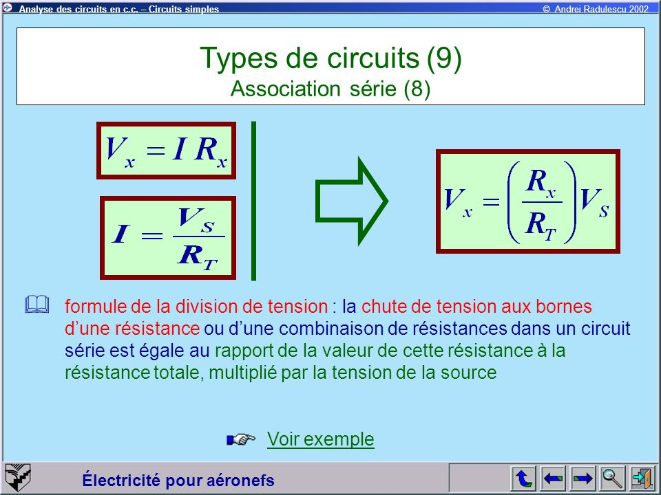 Électricité pour aéronefs © Andrei Radulescu 2002Analyse des circuits en c.c. – Circuits simples formule de la division de tension : la chute de tensi
