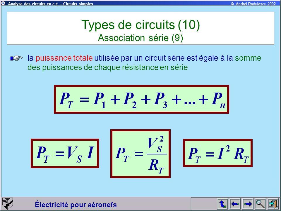 Électricité pour aéronefs © Andrei Radulescu 2002Analyse des circuits en c.c. – Circuits simples la puissance totale utilisée par un circuit série est