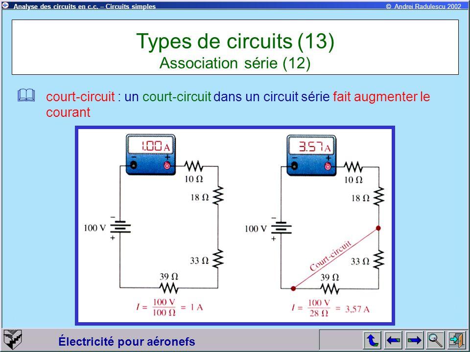 Électricité pour aéronefs © Andrei Radulescu 2002Analyse des circuits en c.c. – Circuits simples court-circuit : un court-circuit dans un circuit séri