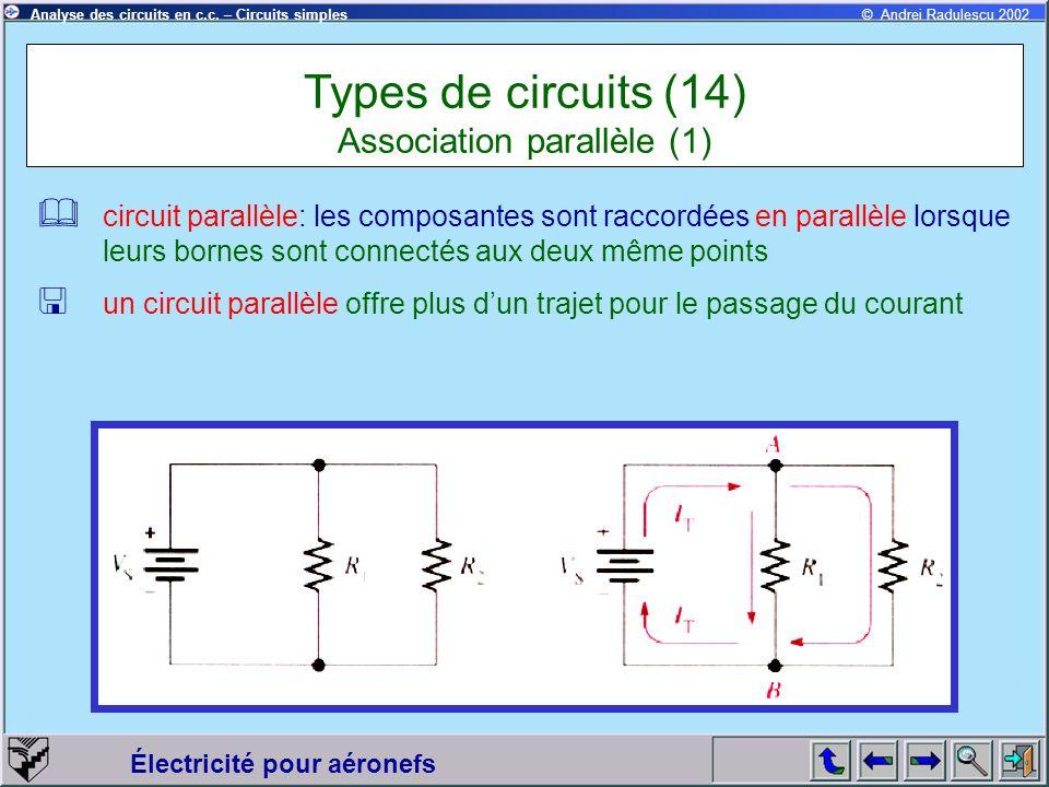 Électricité pour aéronefs © Andrei Radulescu 2002Analyse des circuits en c.c. – Circuits simples circuit parallèle: les composantes sont raccordées en
