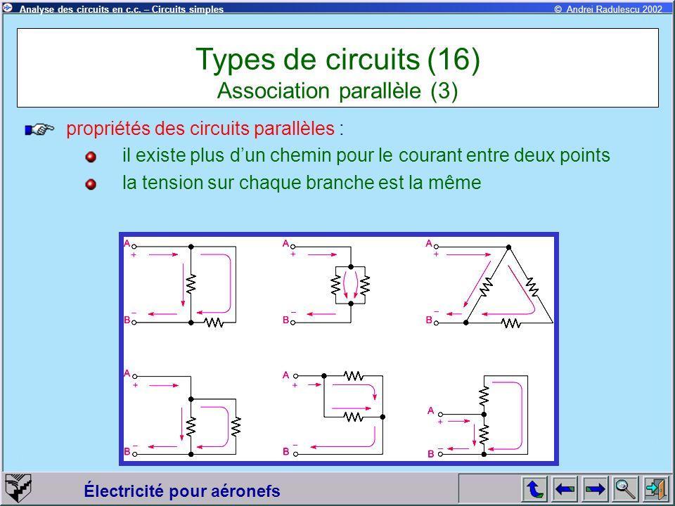 Électricité pour aéronefs © Andrei Radulescu 2002Analyse des circuits en c.c. – Circuits simples propriétés des circuits parallèles : il existe plus d