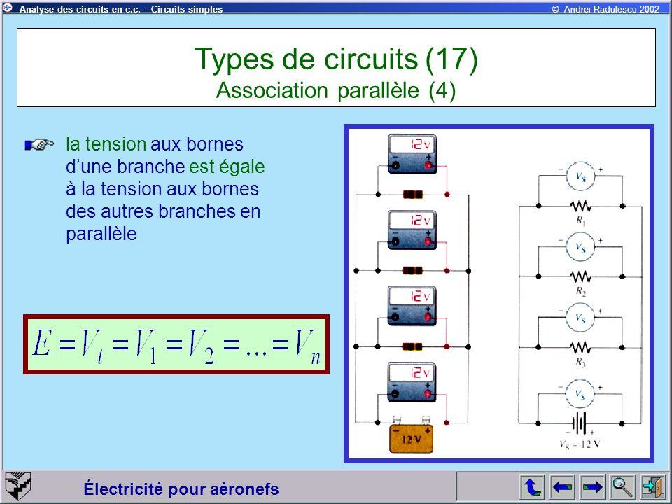 Électricité pour aéronefs © Andrei Radulescu 2002Analyse des circuits en c.c. – Circuits simples la tension aux bornes dune branche est égale à la ten