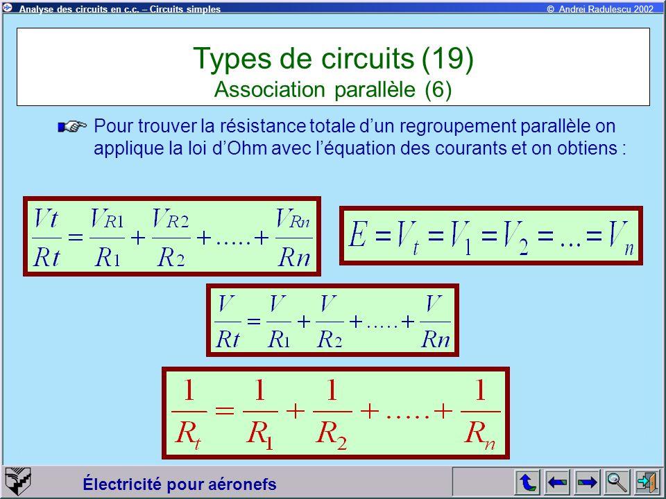 Électricité pour aéronefs © Andrei Radulescu 2002Analyse des circuits en c.c. – Circuits simples Pour trouver la résistance totale dun regroupement pa