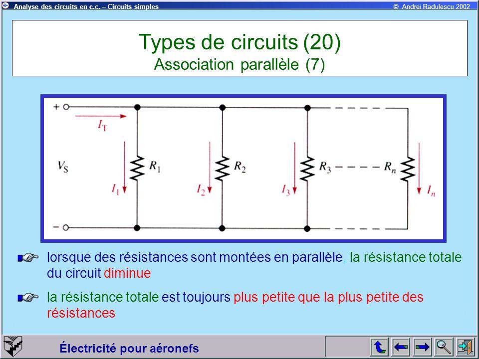 Électricité pour aéronefs © Andrei Radulescu 2002Analyse des circuits en c.c. – Circuits simples lorsque des résistances sont montées en parallèle, la
