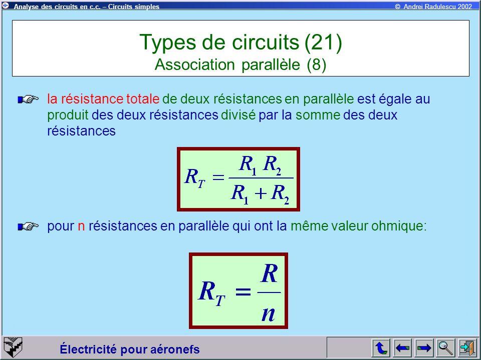 Électricité pour aéronefs © Andrei Radulescu 2002Analyse des circuits en c.c. – Circuits simples la résistance totale de deux résistances en parallèle