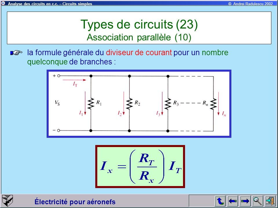 Électricité pour aéronefs © Andrei Radulescu 2002Analyse des circuits en c.c. – Circuits simples la formule générale du diviseur de courant pour un no