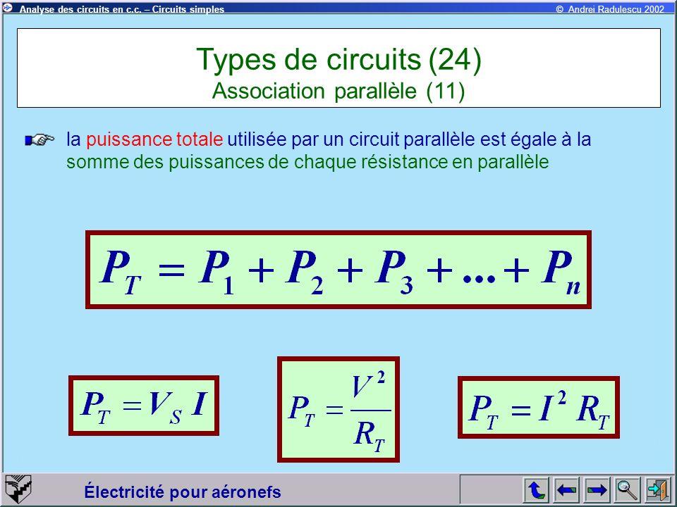 Électricité pour aéronefs © Andrei Radulescu 2002Analyse des circuits en c.c. – Circuits simples la puissance totale utilisée par un circuit parallèle