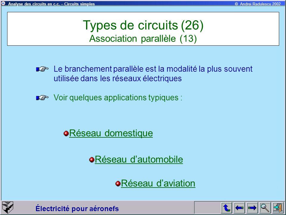 Électricité pour aéronefs © Andrei Radulescu 2002Analyse des circuits en c.c. – Circuits simples Types de circuits (26) Association parallèle (13) Le
