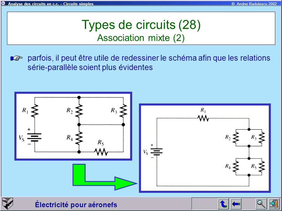 Électricité pour aéronefs © Andrei Radulescu 2002Analyse des circuits en c.c. – Circuits simples parfois, il peut être utile de redessiner le schéma a