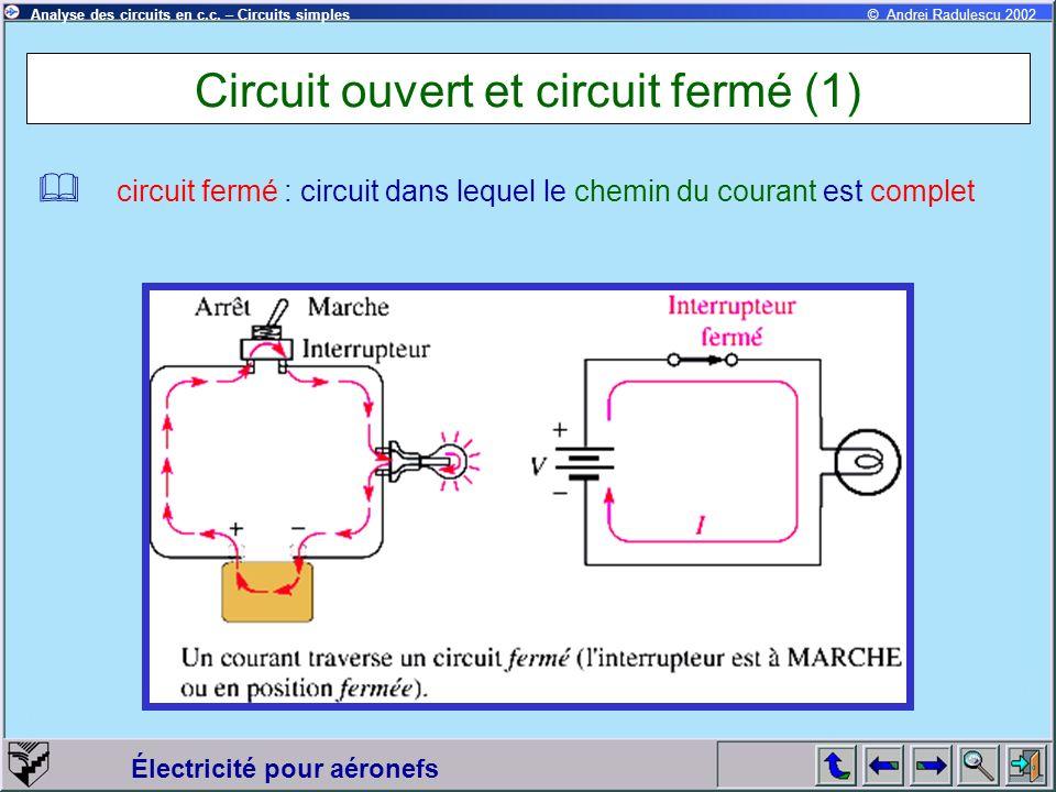 Électricité pour aéronefs © Andrei Radulescu 2002Analyse des circuits en c.c. – Circuits simples Circuit ouvert et circuit fermé (1) circuit fermé : c