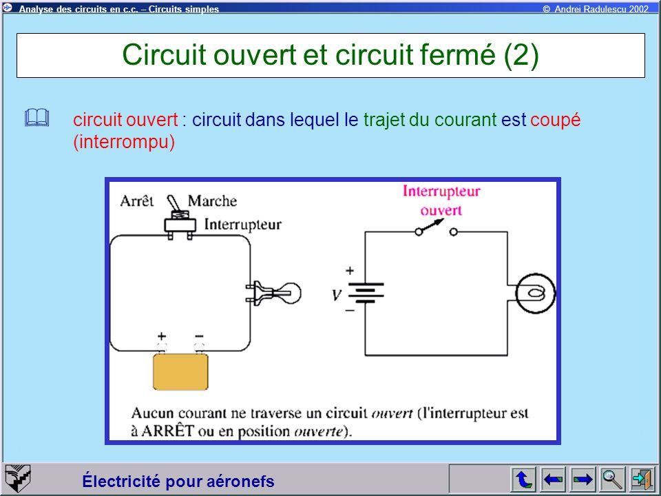 Électricité pour aéronefs © Andrei Radulescu 2002Analyse des circuits en c.c. – Circuits simples Circuit ouvert et circuit fermé (2) circuit ouvert :
