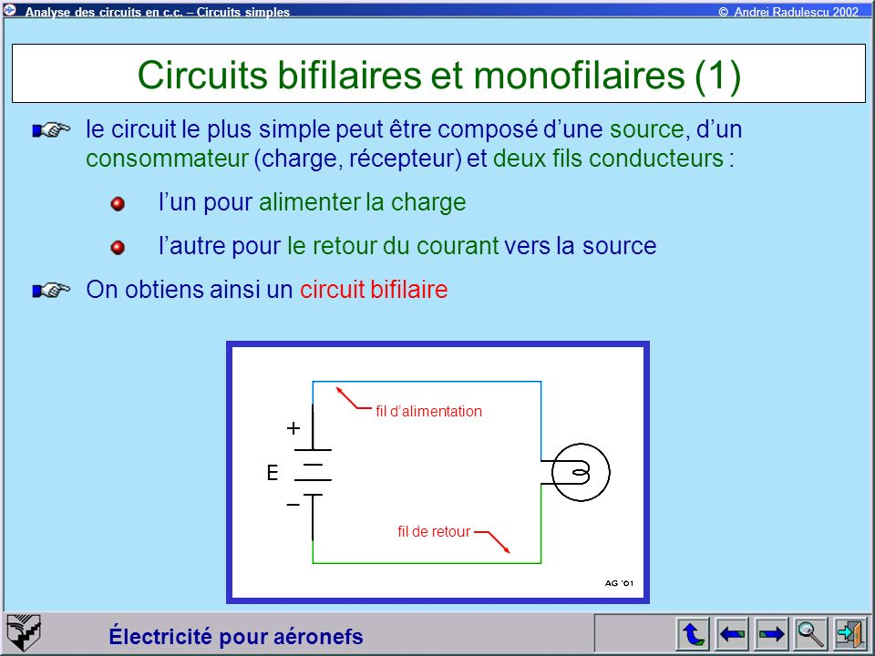 Électricité pour aéronefs © Andrei Radulescu 2002Analyse des circuits en c.c. – Circuits simples Circuits bifilaires et monofilaires (1) le circuit le