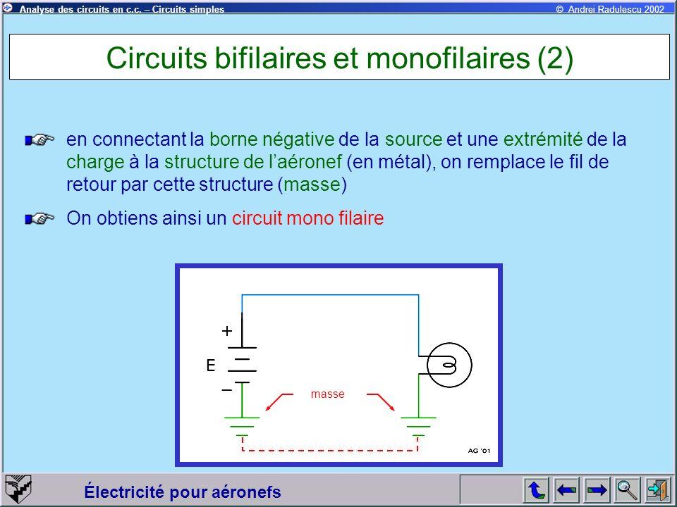 Électricité pour aéronefs © Andrei Radulescu 2002Analyse des circuits en c.c. – Circuits simples Circuits bifilaires et monofilaires (2) en connectant