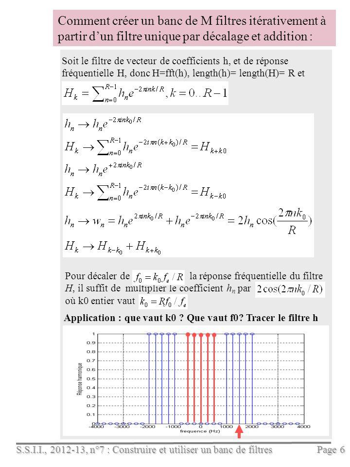 S.S.I.I., 2012-13, n°7 : Construire et utiliser un banc de filtres Page 6 Pour décaler de la réponse fréquentielle du filtre H, il suffit de multiplier le coefficient h n par où k0 entier vaut Comment créer un banc de M filtres itérativement à partir dun filtre unique par décalage et addition : Application : que vaut k0 .