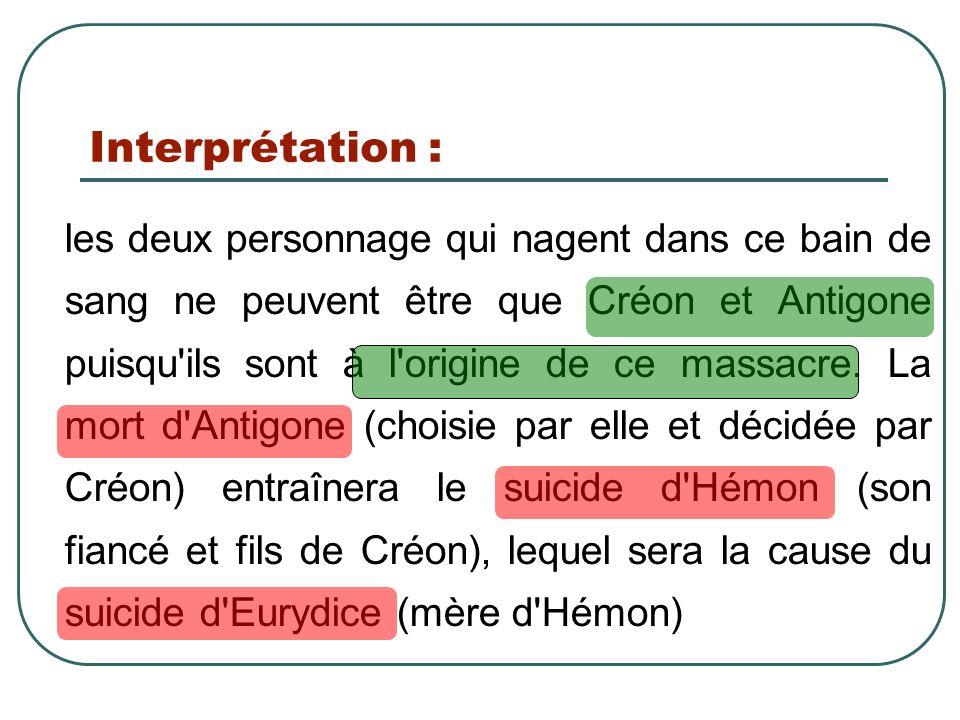 Interprétation : les deux personnage qui nagent dans ce bain de sang ne peuvent être que Créon et Antigone puisqu'ils sont à l'origine de ce massacre.