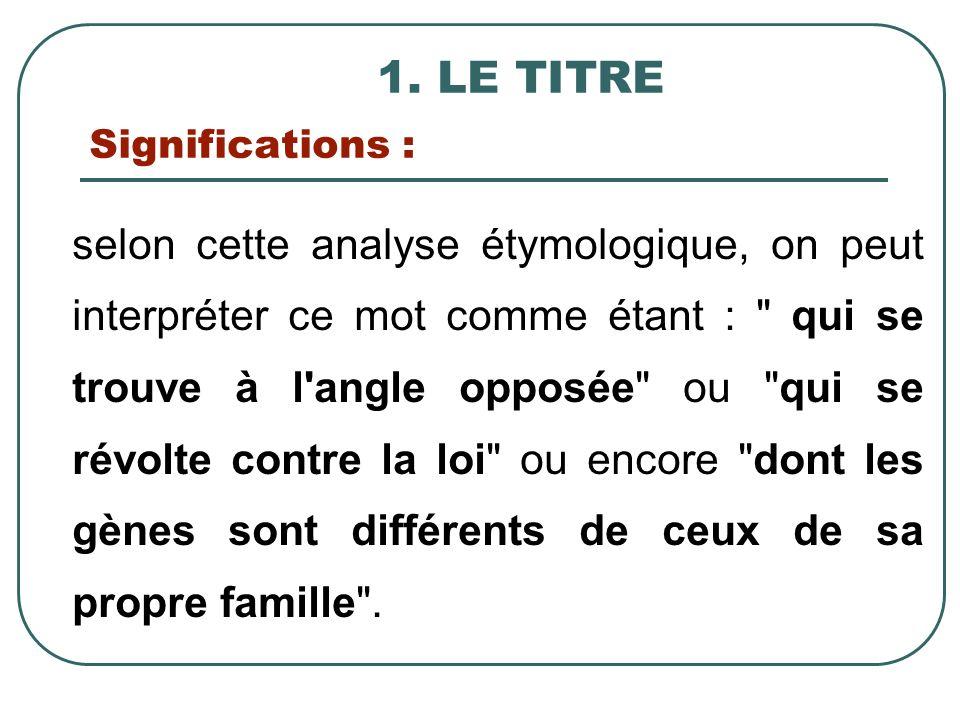 1. LE TITRE Significations : selon cette analyse étymologique, on peut interpréter ce mot comme étant :
