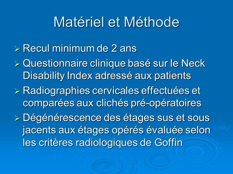 Matériel et Méthode Recul minimum de 2 ans Recul minimum de 2 ans Questionnaire clinique basé sur le Neck Disability Index adressé aux patients Questi