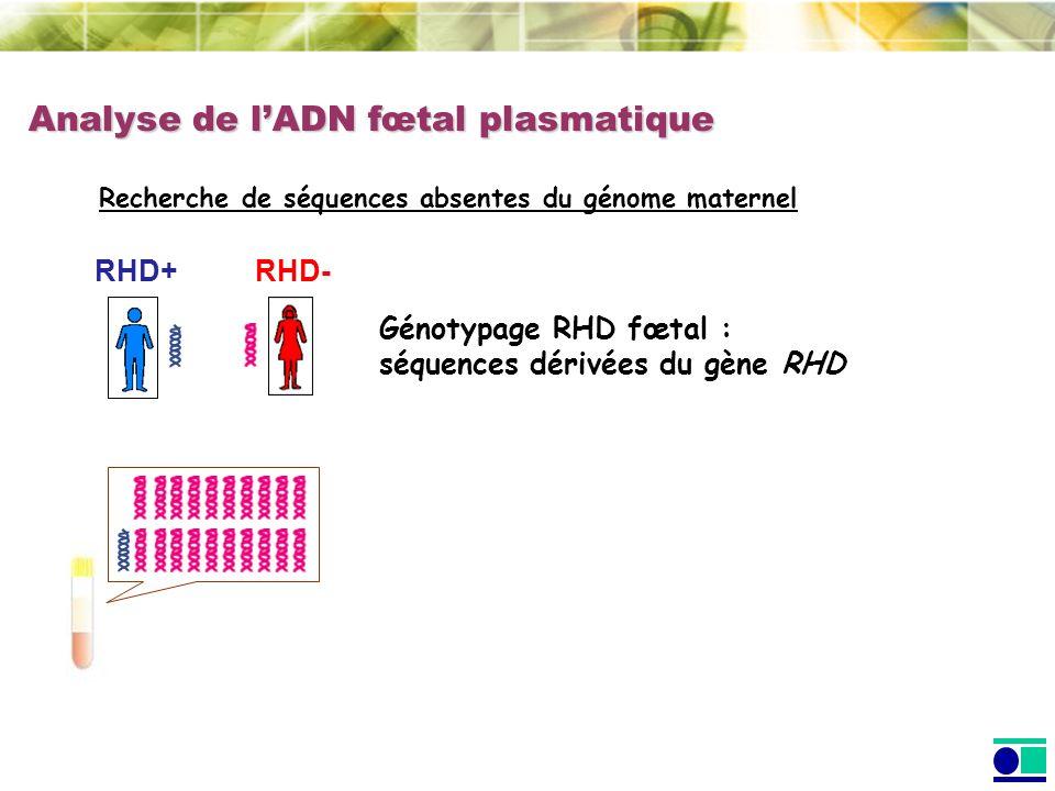 Analyse de lADN fœtal plasmatique Recherche de séquences absentes du génome maternel RHD+ Génotypage RHD fœtal : séquences dérivées du gène RHD RHD-