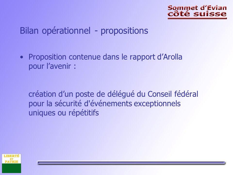 Bilan opérationnel - propositions Proposition contenue dans le rapport dArolla pour lavenir : création dun poste de délégué du Conseil fédéral pour la sécurité d événements exceptionnels uniques ou répétitifs