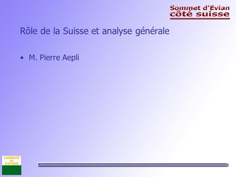 Rôle de la Suisse et analyse générale M. Pierre Aepli