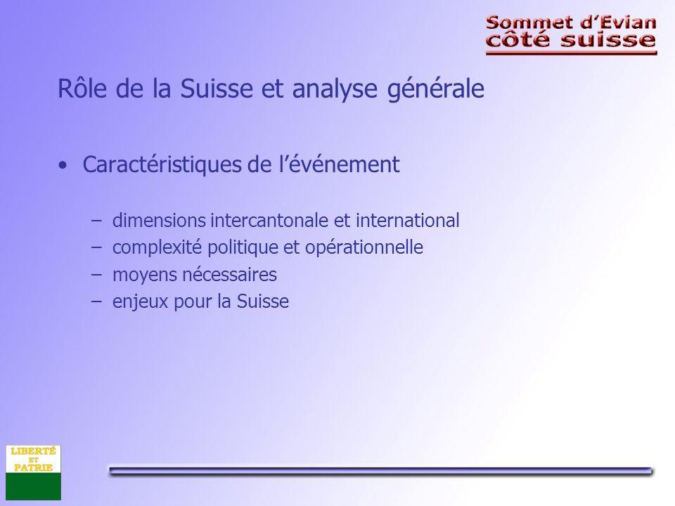 Rôle de la Suisse et analyse générale Caractéristiques de lévénement –dimensions intercantonale et international –complexité politique et opérationnelle –moyens nécessaires –enjeux pour la Suisse